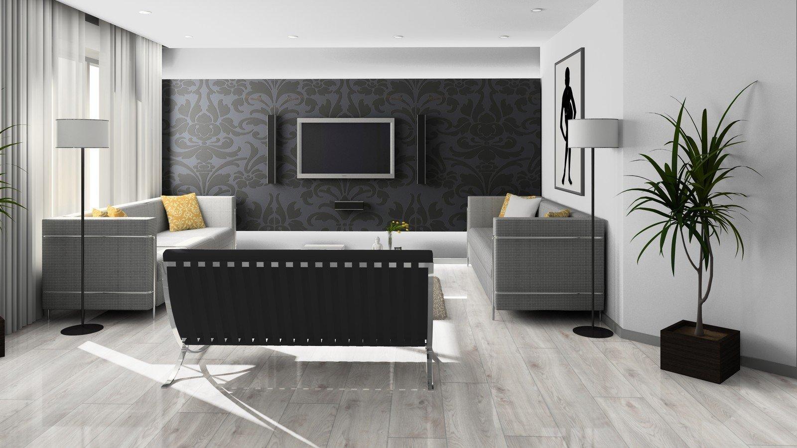 Modernes Wohnzimmer Schwarz Wei Laminat