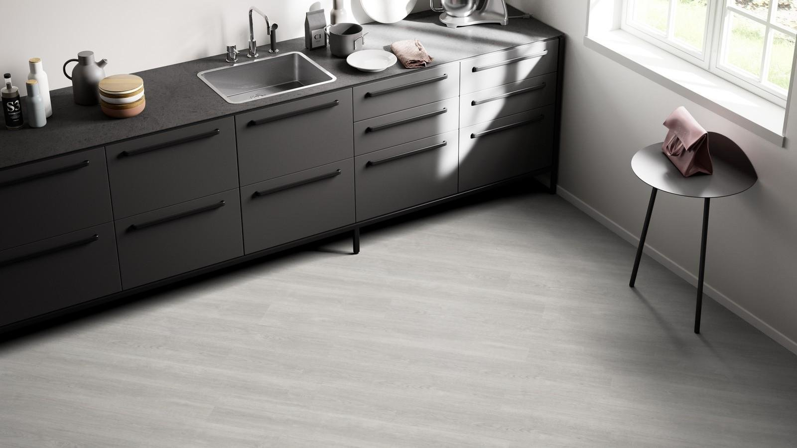 Виниловый пол на кухне фото